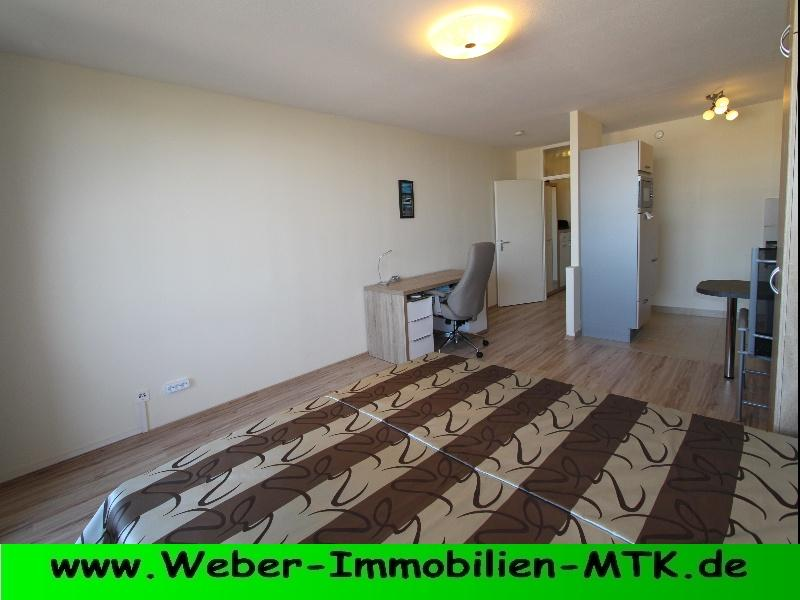 Immobilienmakler in Kriftel NUR als ZWEIT-Wohnung, TOP sanierte 1 ZKB, komplett MÖBLIERT, offene EBK, Loggia mit SKYLINE Blick